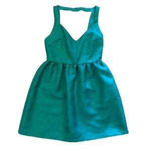 Zara Green Bar Open Back Fit Flare V Dress Large